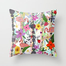 Tropical Flower, Flamingo and Exotic Flowers Pattern With Cherry, Strawberry Throw Pillow