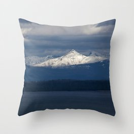 Snow Capped Peak and Lake Throw Pillow