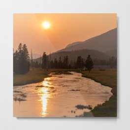 Sunset and Reflection on the River at Yellowstone National Park Metal Print
