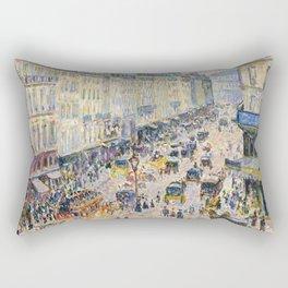 "Camille Pissarro ""La Rue Saint-Lazare, temps lumineux"" Rectangular Pillow"