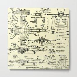 F-18 Blueprints // Parchment Metal Print