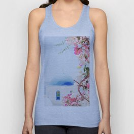 Santorini Greece Mamma Mia pink flowers travel photography in hd. Unisex Tank Top