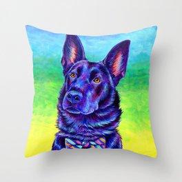 Colorful Black German Shepherd Dog Throw Pillow