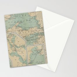 Vintage Great Lakes Lighthouse Map (1898) Stationery Cards