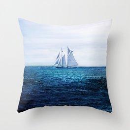Sailing Ship on the Sea Throw Pillow