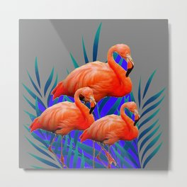 Decorative Tropical  Florida Flamingos Blue-Grey Patterns Metal Print