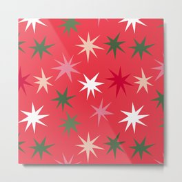 Colourful Sparkles - Red Metal Print