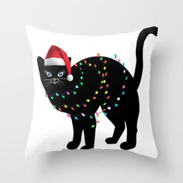 Christmas cat tshirt  Throw Pillow