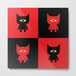 Heart Eye Cat - RED AND BLACK Metal Print