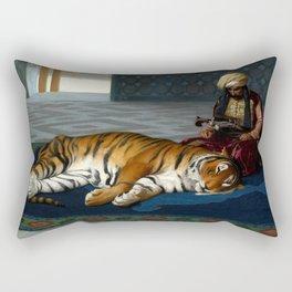 """Jean-Léon Gérôme """"Le Tigre Et Le Gardien (The Tiger and his Guardian)"""" Rectangular Pillow"""