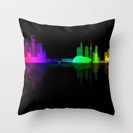 Shanghai, China Rainbow City Skyline Silhouette Throw Pillow