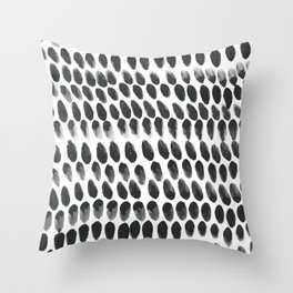 Black and White Abstract Watercolor Polka Dot Brushtrokes Painting Throw Pillow