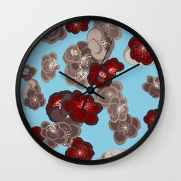 Quince flower pattern 2b Wall Clock