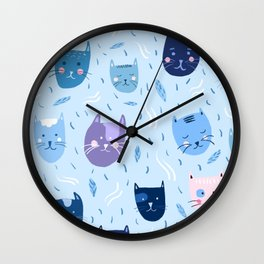 Little blue cats Wall Clock