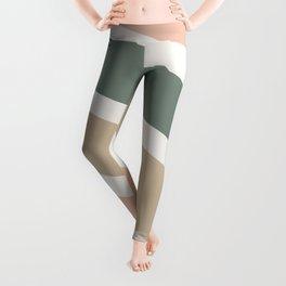 Colorful Stripes, Green, Blush Pink, Beige, Geometric Art Leggings