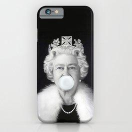 QUEEN ELIZABETH II BLOWING WHITE BUBBLE GUM iPhone Case