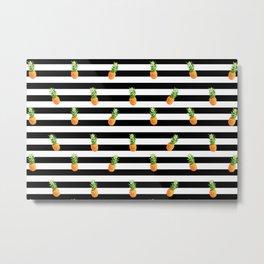 Pineapple, Summer poster, Pineapple poster, pattern, black version Metal Print