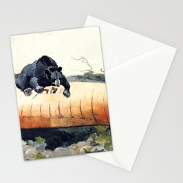 A bear attacking a canoe - watercolor Stationery Cards