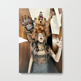Funny Bear at an Office Metal Print