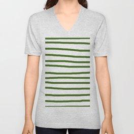 Simply Drawn Stripes in Jungle Green Unisex V-Neck