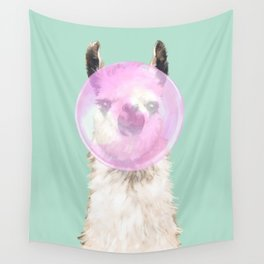 Bubble Gum Popped on Llama (2 in series of 3)  Wall Tapestry
