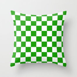 Checker Texture (Green & White) Throw Pillow
