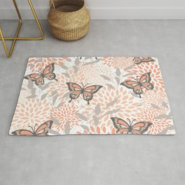 Floral and Butterflies Prints, Gray, Coral, Peach Rug