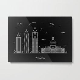 Atlanta Minimalist Skyline Drawing Metal Print