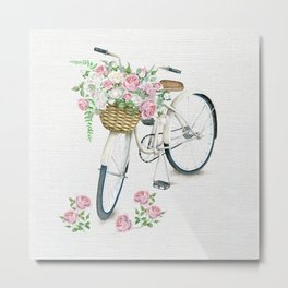 Vintage White Bicycle with English Roses on Paper Background Metal Print