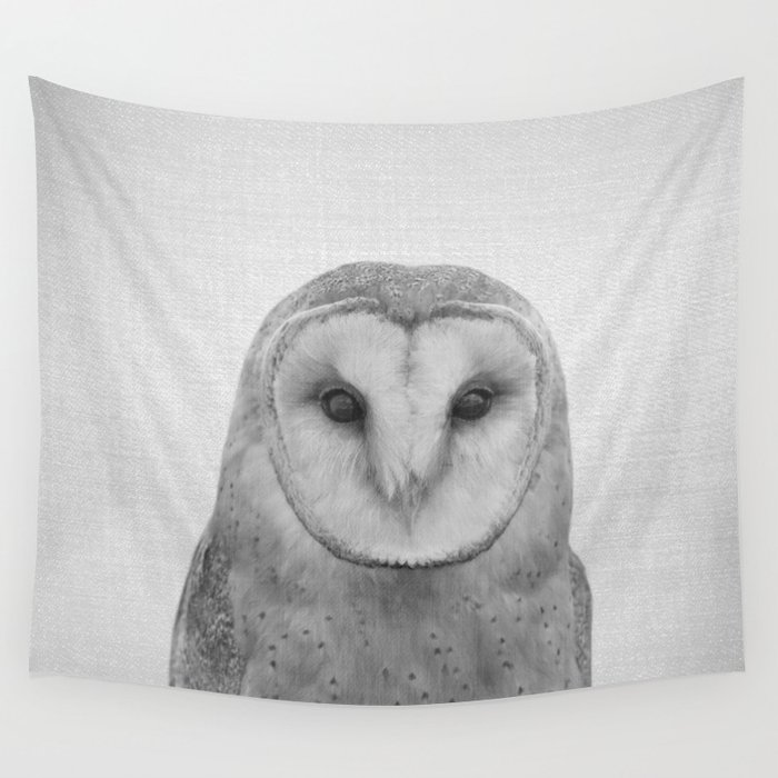 Owl - Black & White Wall Tapestry