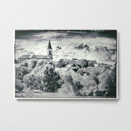 Old French village in countryside Mont Blanc mountains vintage styled Metal Print