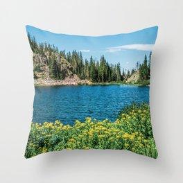 Yellow Flower Lake // Beautiful Daylight Evergreen Mountain Landscape Photograph Throw Pillow