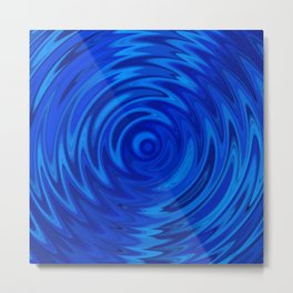 Water Moon Cobalt Swirl Metal Print
