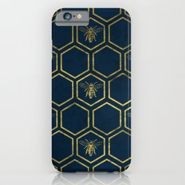 Honey Bee in Navy and Gold iPhone Case