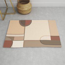Abstract Art Shapes II Browns Rusts Creams Rug