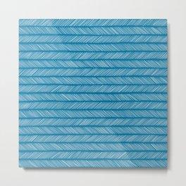 Mosaic Blue Small Herringbone Metal Print