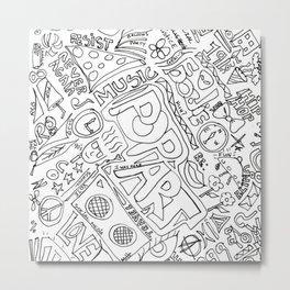 Graffiti: Black And White Metal Print