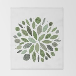 Mid-Century Green Leaves Throw Blanket