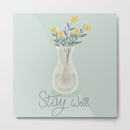 Stay Well Flower Vase Buttercup Drawing Metal Print