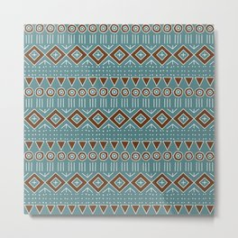 Mudcloth Style 2 in Turquoise and Brown Metal Print