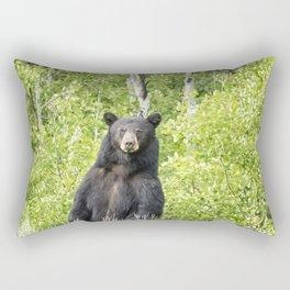 Male Black Bear Looking To Cross the Road, Grand Tetons Rectangular Pillow