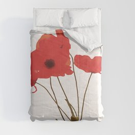 Delicate Red Poppies Vector Style Comforters