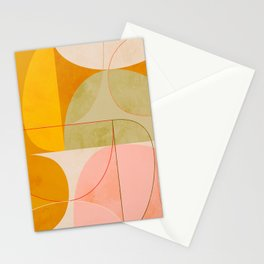 mid century geometric lines curry pink abstract art Stationery Cards