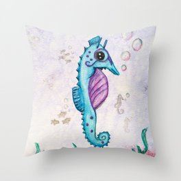 Born to Stand Out - Watercolor Seahorse Throw Pillow