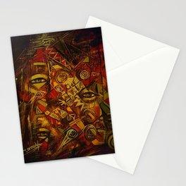 Indigenous Inca Faces and Ancestors - Renacer en el Tiempo portrait painting by Ortega Maila Stationery Cards