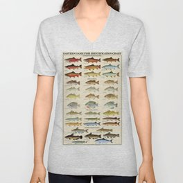 Illustrated Eastern Game Fish Identification Chart Unisex V-Neck