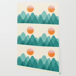 Abstraction_Mountains_SUNSET_Landscape_Minimalism_003 Wallpaper