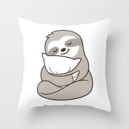 Cute sleepy sloth hugging pillow Throw Pillow