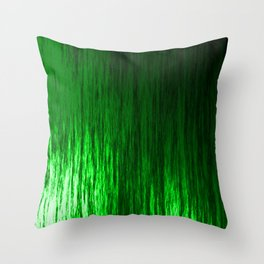 Bright texture of shiny foil of green flowing waves on a dark fabric. Throw Pillow