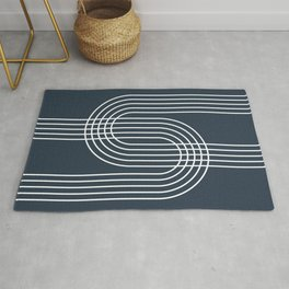 Geometric Lines in Midnight Blue Rug